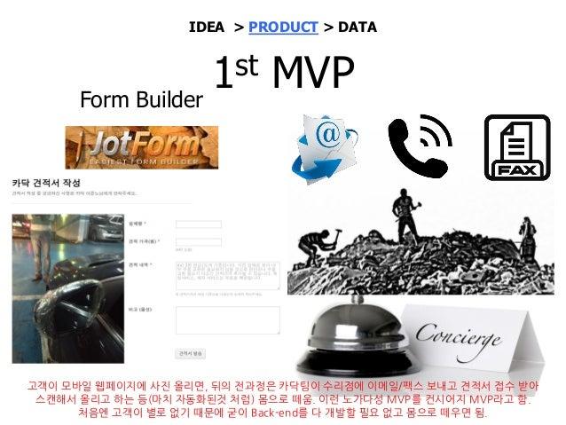 Lean Canvas with key metrics 1st MVP 출시 하루 만에 강제 출시 IDEA > PRODUCT > DATA 사진세장으로 견적가능 부품교환 필요한 경우 업체의 정확한 견적 필요 & 차대번호 필수 ...