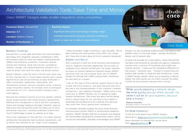 Architecture Validation Tools Save Time and MoneyCisco SMART Designs make smaller integrators more competitiveCustomer Nam...