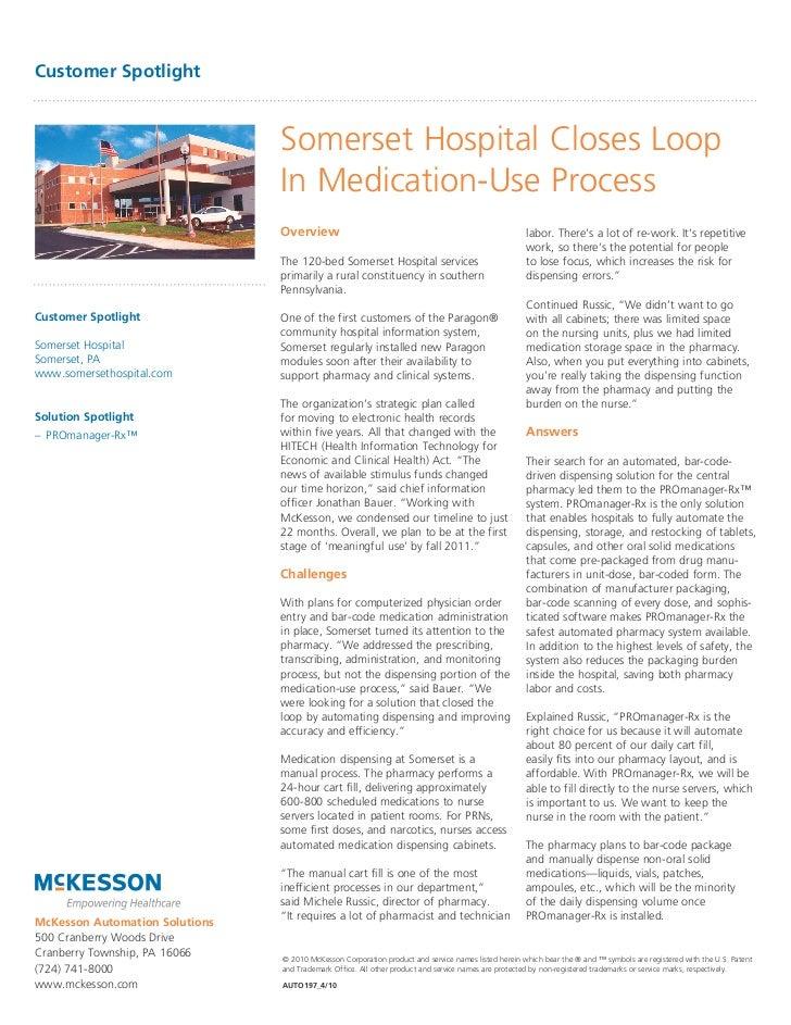 Customer Spotlight                                Somerset Hospital Closes Loop                                In Medicati...