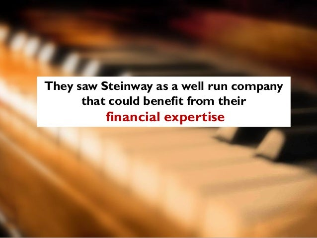 steinway sons case study Steinway & sons: buying a legend ¢ñ statement of problems and issues summary for 140 years, steinway & sons has set the standard for the quality manufacture of pianos why is steinway legend what made it so a great master after first step into piano industry ¡°steinway¡± and the word piano are almost.