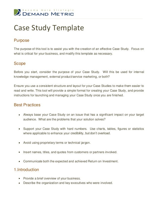 Marvelous Case Study TemplatePurposeThe Purpose Of This Tool Is To Assist You With  The Creation Of An ... Design Inspirations