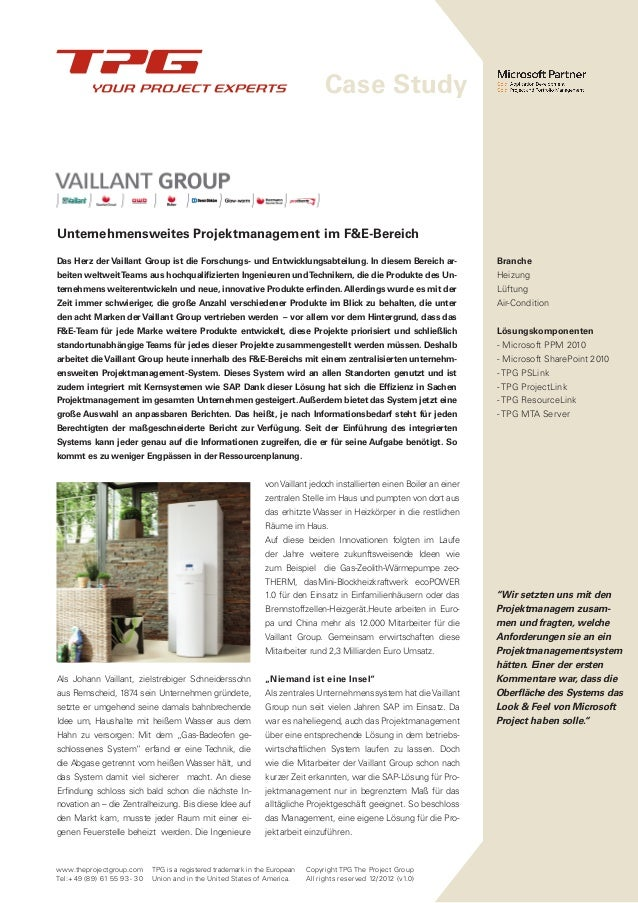 Case Study Vaillant: Multi-Projektmanagement mit MS Project und SAP integration