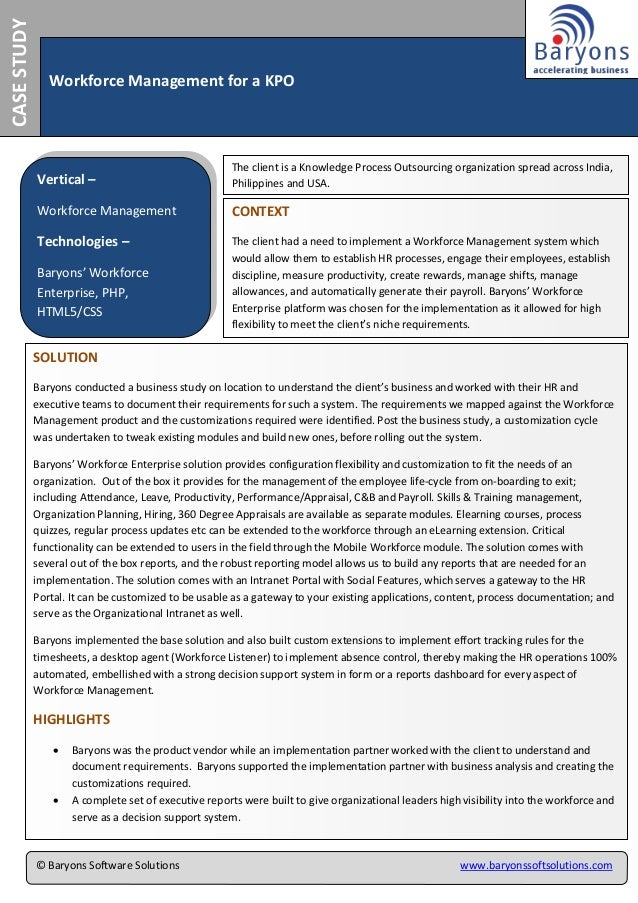 CASESTUDY Workforce Management for a KPO Vertical – Workforce Management Technologies – Baryons' Workforce Enterprise, PHP...