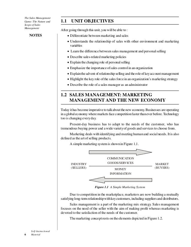 Case The Sales Management Game The Nature And Scope Of Sales Manage