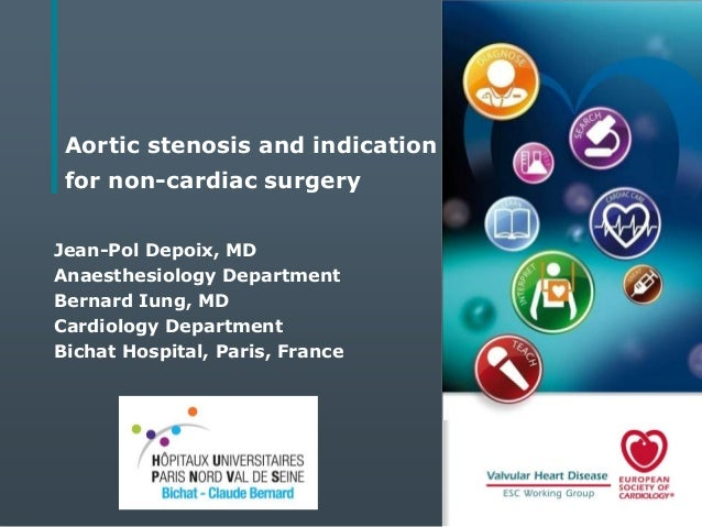 Aortic stenosis and indication  for non-cardiac surgery Jean-Pol Depoix, MD Anaesthesiology Department Bernard Iung, MD Ca...