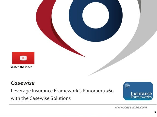 Confidential - © Casewise 2015 Casewise Leverage Insurance Framework's Panorama 360 with the Casewise Solutions 1 www.case...