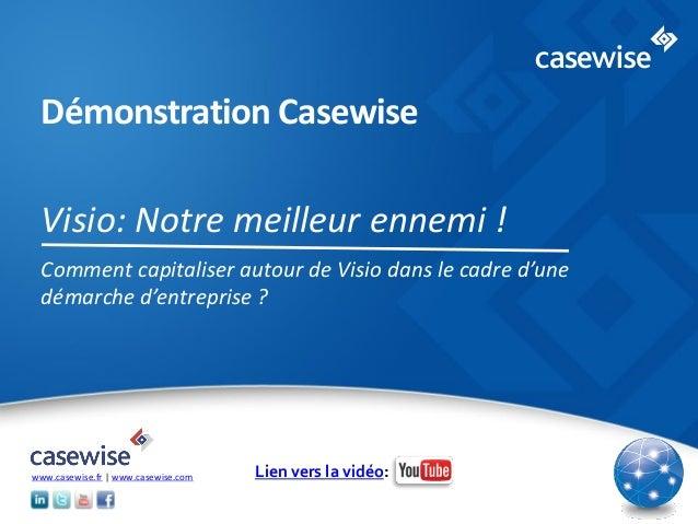 © 2014 Casewise Systems Ltd Démonstration Casewise Visio: Notre meilleur ennemi ! Comment capitaliser autour de Visio dans...