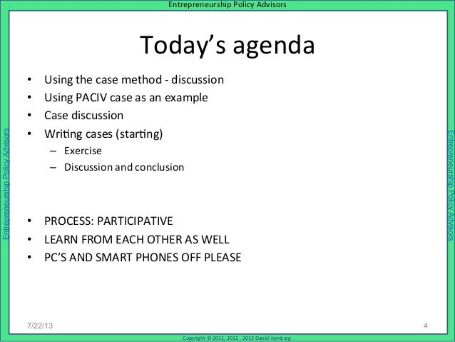Case Teaching and Writing Workshop for Faculty July 2013 – Workshop Agenda Example