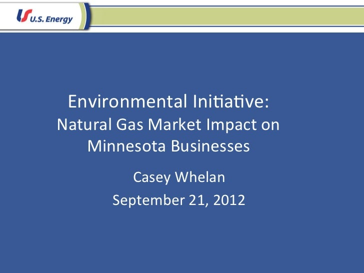 Environmental Ini.a.ve: Natural Gas Market Impact on    Minnesota Businesses              Casey Whelan...