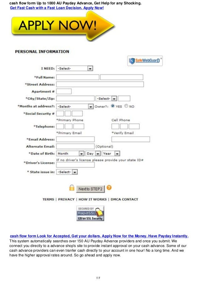 cash flow form 100 1000 au bad credit loans get support for the sh