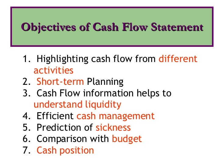 liability 7 objectives of cash flow statement