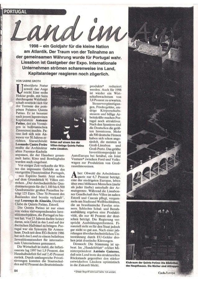 Cash 1998 mit nils peter sieger zu portugals immobilienmarkt 1998