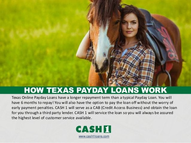Texas Online Payday Loans have a longer repayment term than a typical Payday Loan. You will have 6 months to repay! You wi...