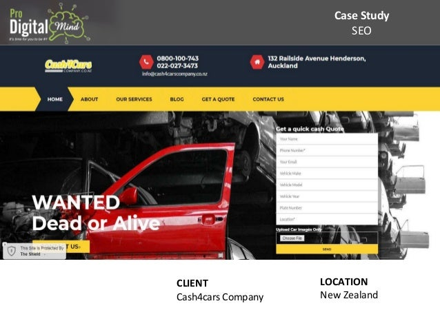 Case Study SEO CLIENT Cash4cars Company LOCATION New Zealand