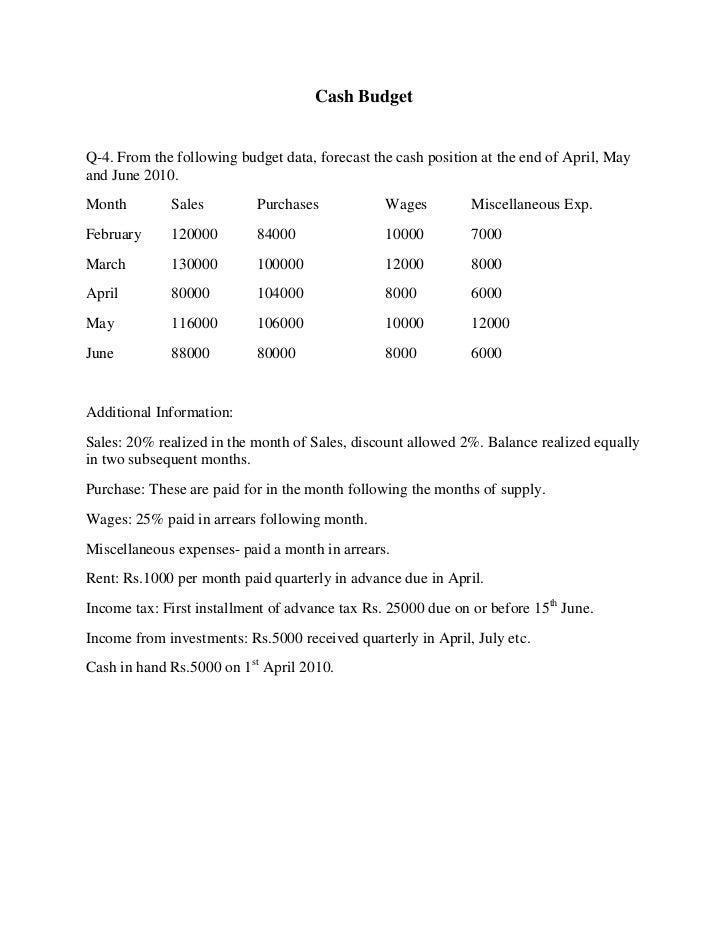 cash budget sheet