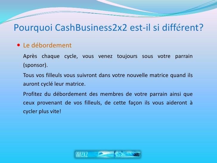 Pourquoi CashBusiness2x2 est-il si différent?  Le débordement   Après chaque cycle, vous venez toujours sous votre parrai...