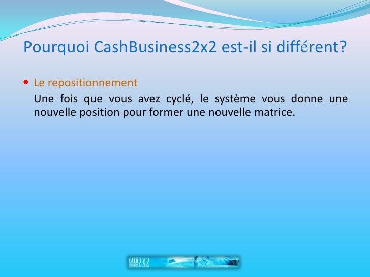 Pourquoi CashBusiness2x2 est-il si différent?  Le repositionnement   Une fois que vous avez cyclé, le système vous donne ...
