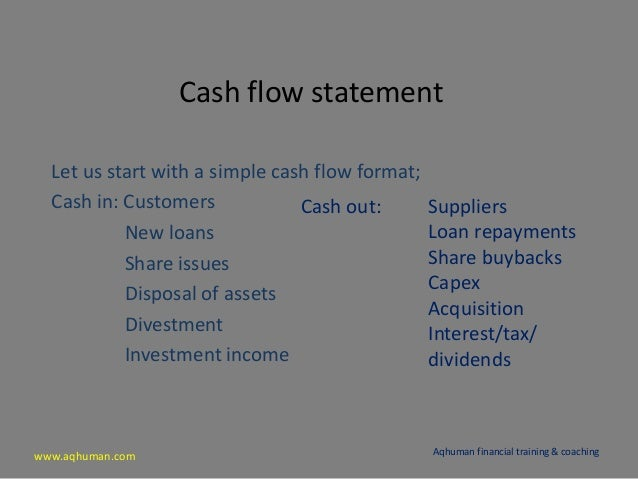 www.aqhuman.com Cash flow statement Let us start with a simple cash flow format; Cash in: Customers New loans Share issues...