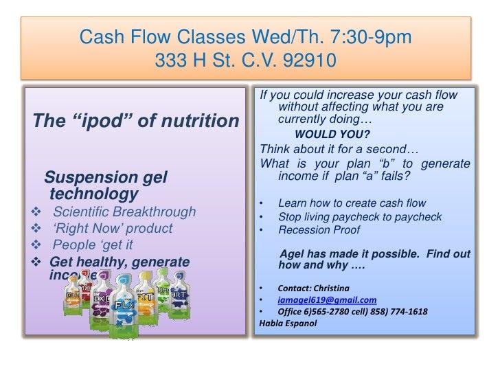 "Cash Flow Classes Wed/Th. 7:30-9pm333 H St. C.V. 92910<br />The ""ipod"" of nutrition<br />Suspension gel technology<br /><u..."