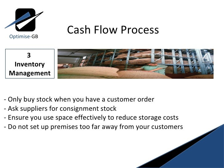 - Only buy stock when you have a customer order  - Ask suppliers for consignment stock  - Ensure you use space effectively...