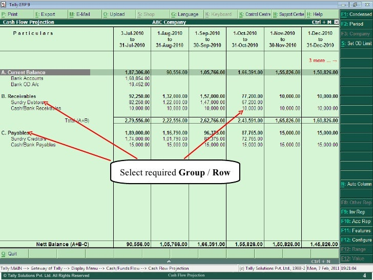 cash flow projection excel to tally tally corporate services ta