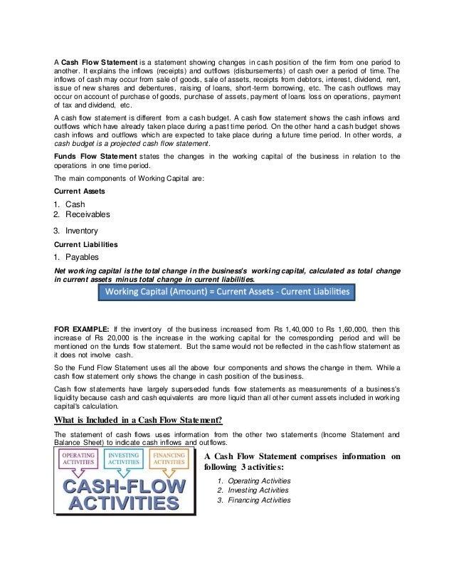 projected cash flow statement