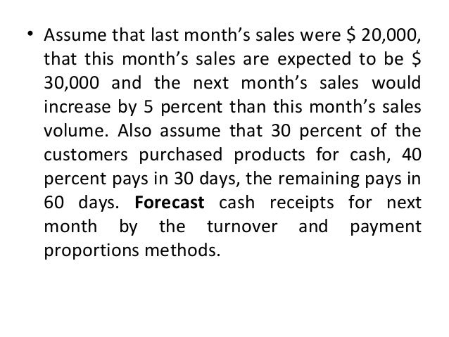 • Assume that last month's sales were $ 20,000, that this month's sales are expected to be $ 30,000 and the next month's s...