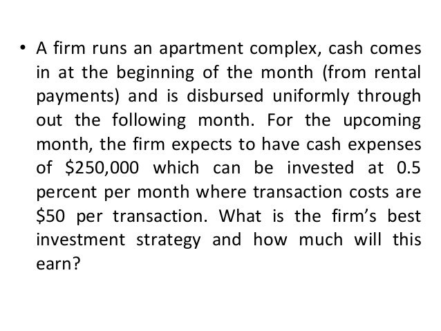 • The optimal number of transactions, n = • The amount of final withdrawal = • Profit = [(n-1)/2n]iY-na • All cash flows a...