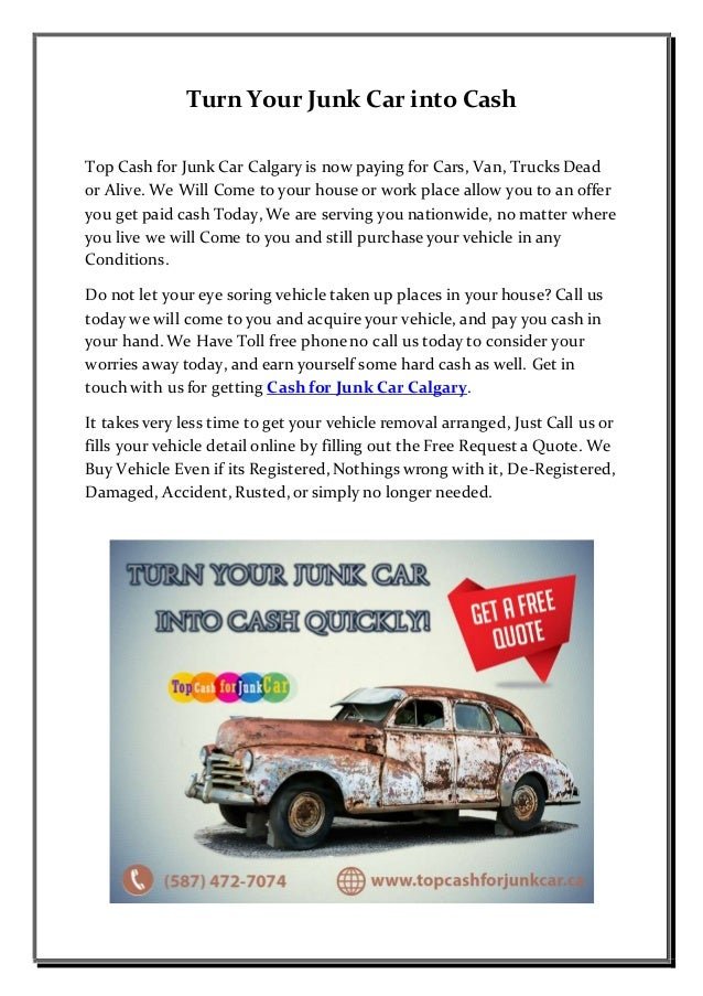 Cash For Junk Cars Online Quote Fascinating Cash For Junk Car Calgary