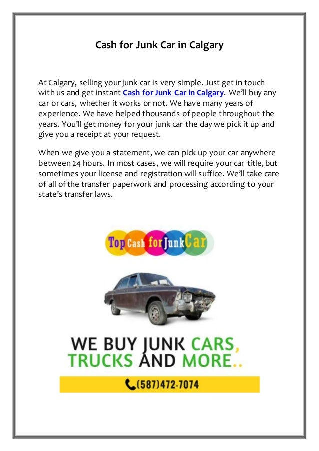 Cash for Junk Car in Calgary