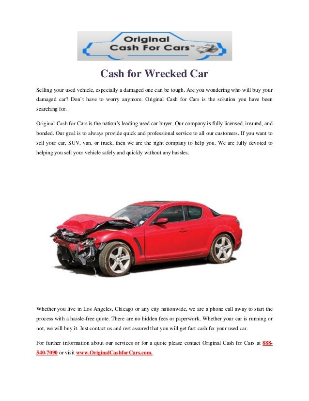 Cash for wrecked car