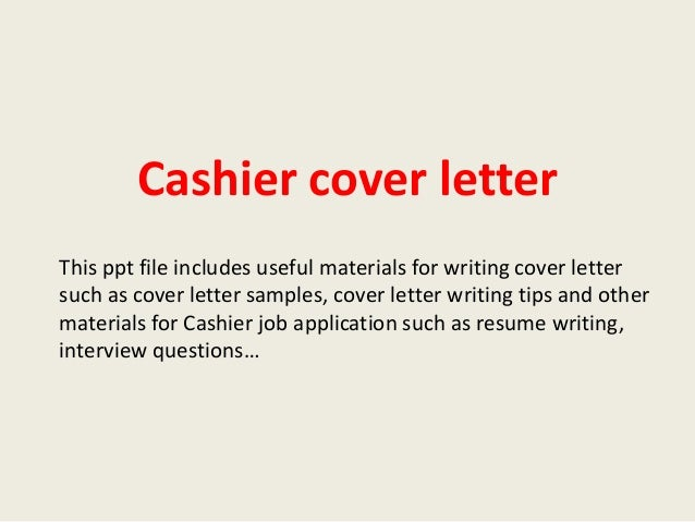 Cashier Cover Letter This Ppt File Includes Useful Materials For Writing Cover  Letter Such As Cover ...  Cashier Cover Letter