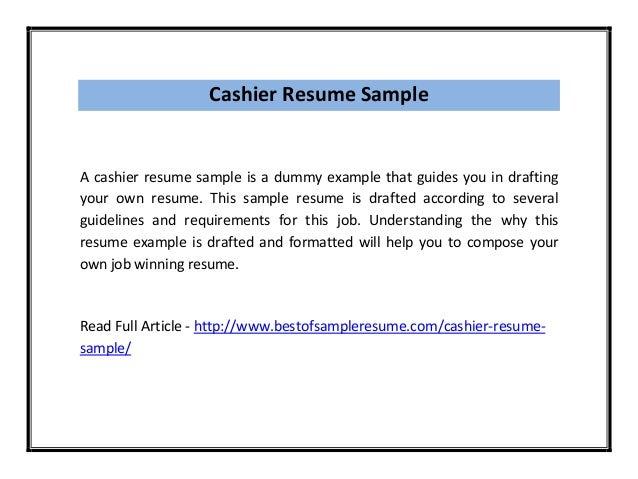 Cashier Resume Sample PDF
