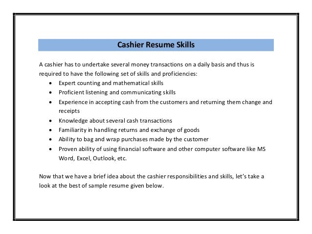 cashier on a resumes