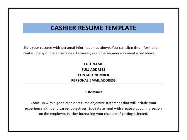 CASHIER RESUME ...  Cashier Resume
