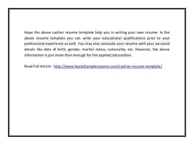 Cashier Resume Format  Cashier Resume Template