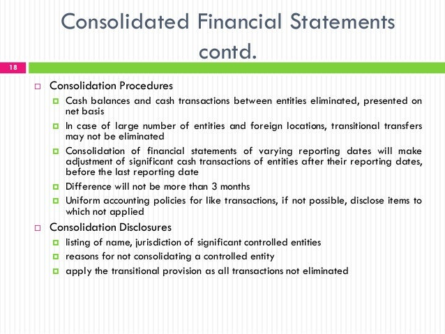 consolidation controlled entities International financial reporting standards (ifrs) before consolidation control control over an entity is with international financial reporting standards.