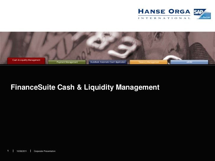 FinanceSuite Cash & Liquidity Management<br />Corporate Presentation<br />1<br />10/08/2011<br />1<br />