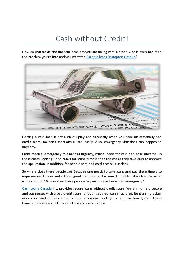 Cash loans Canada | Car title loans in Montreal and Kitchener