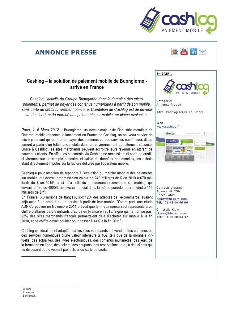 ANNONCE PRESSE                                                                                             EN BREF…    Cas...