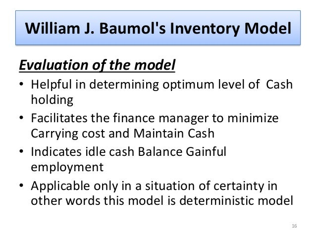 Evaluation of baumols model