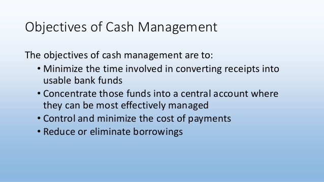 cash management in mnc objectives
