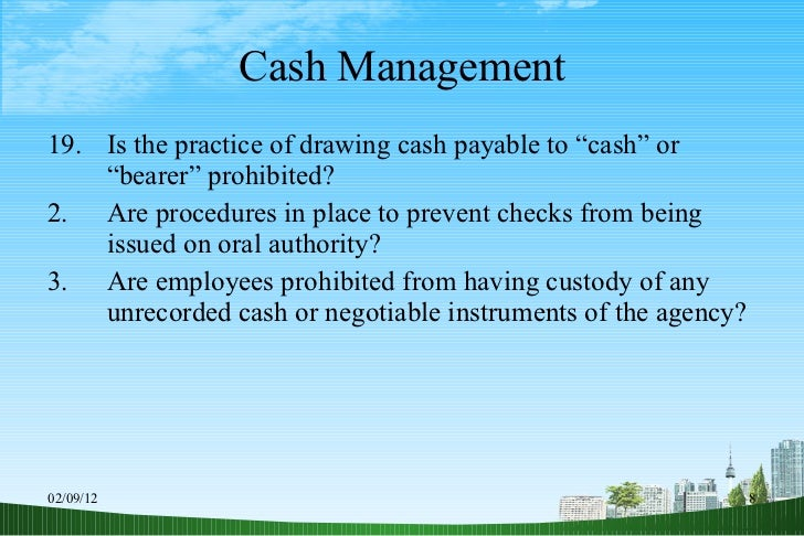 8 cash management Standards for financial and program management page 8 cash management improvement act (cmia) the cash management improvement act of 1990 (cmia) is the standards for financial and program management page 11 program income 200307 organizations are encouraged to earn income to defray.