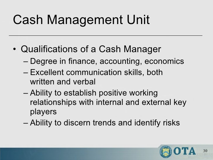 cash management - Cash Management Skills