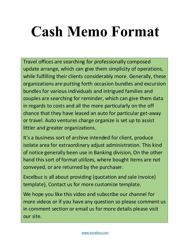 Www.excelbuz.com Cash Memo Format Travel Offices Are Searching For  Professionally Composed Update ...