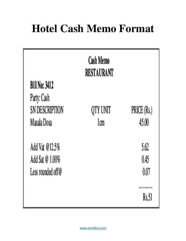 2. Www.excelbuz.com Hotel Cash Memo Format ...  Cash Memo Format