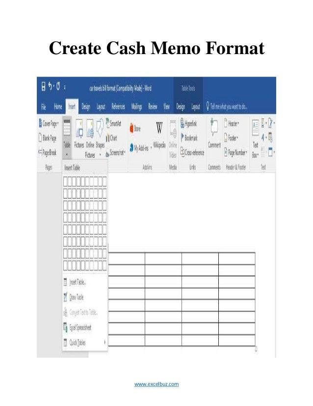 ... Create Cash Memo Format  Cash Memo Format
