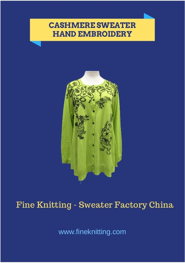 CASHMERE SWEATER HAND EMBROIDERY Fine Knitting - Sweater Factory China www.fineknitting.com