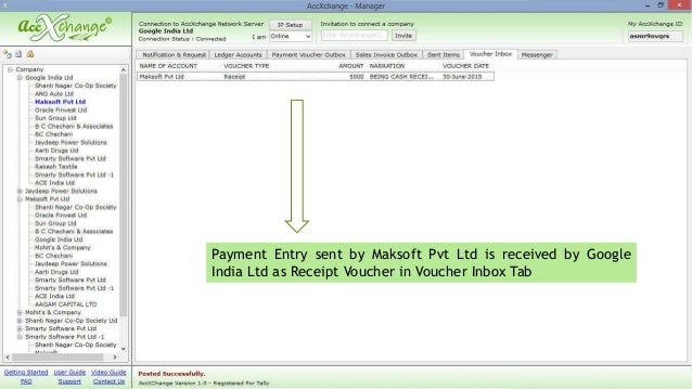 Cash Payment to Receipt in AccXchange – Receipt for Cash Payment