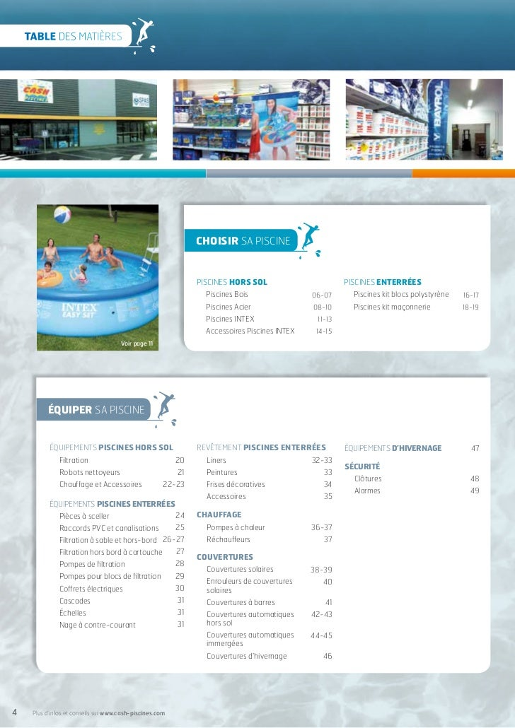 cash piscines catalogue 2012 entretenir sa piscine